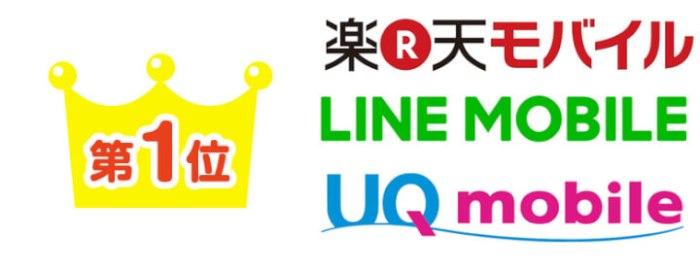 楽天モバイル・LINEモバイル・UQモバイル