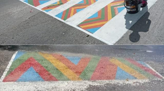 Paso peatonal recién pintado no aguantó el primer palo de agua