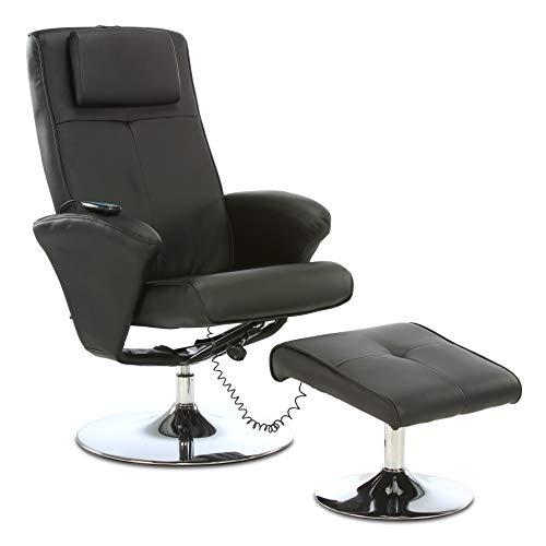 aktivshop Relaxsessel Fernsehsessel mit Hocker & Massagefunktion, Drehbar (Schwarz)