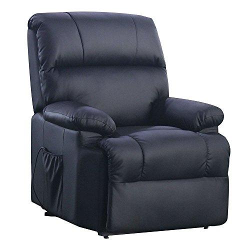 SVITA Massagesessel mit Wärmefunktion und elektrischer Aufstehhilfe - Fernsehsessel Relaxsessel Massagestuhl TV-Sessel - Kunstleder Farbwahl (schwarz)