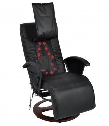 Festnight Shiatsu Massagesessel Relaxsessel Massagestuhl aus Halb PU mit 14 Massagepunkte Sitzkomfort Schwarz