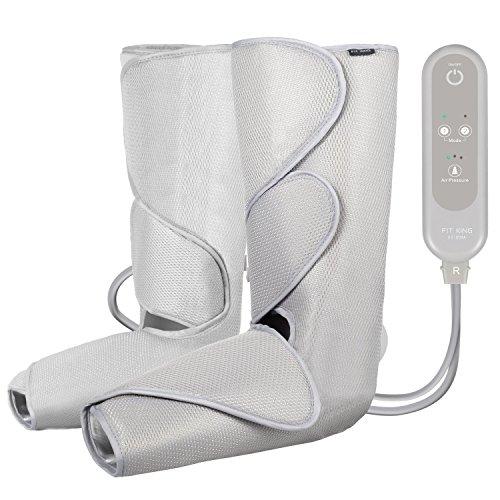 FIT KING Massagegerät für Beine Kalb Fuß relaxsessel Massage mit Handheld Controller 2 Modi 3 Intensitäten (Hellgrau)