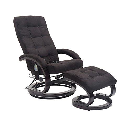 HOMCOM® Massagesessel mit Hocker TV Sessel Relaxsessel Fernsehsessel mit Heizfunktion 2 Farben (Schwarz)