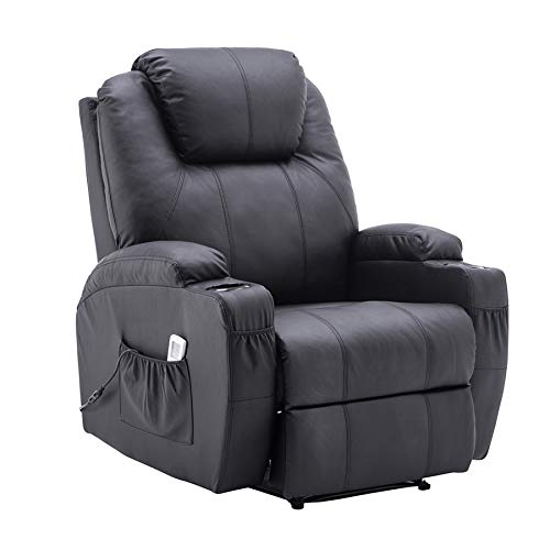MCombo Elektrisch Massagesessel Relaxsessel Fernsehsessel Liegefunktion Vibration Heizung (Schwarz)