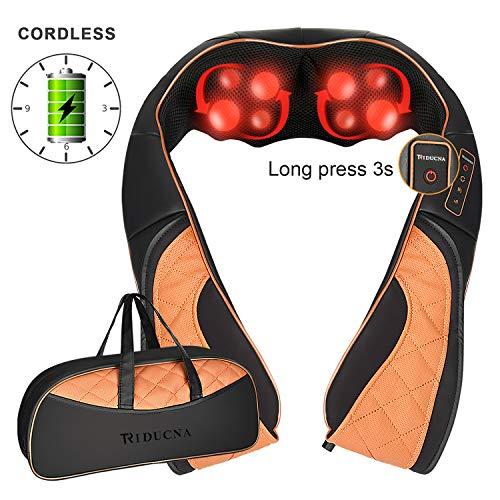 Kabelloses Nackenmassagegerät mit wärme Wiederaufladbare Shiatsu Rückenmassagegerät mit 3D-Rotation Massage Einstellbaren Geschwindigkeiten für Nacken Schulter Rücken Ganzen Körper, Tasche Inklusive
