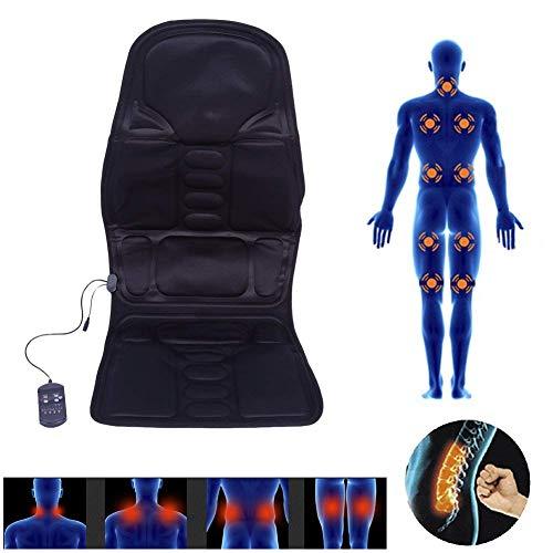 Massage Sitzauflage mit 5 Massagezonen, Shiatsu Sitzheizung Massagematte Massagekissen für Haus Büro Auto, Elektrisch Wärmetherapie Vibrationsmassage Pad mit Fernbedienung(EU)