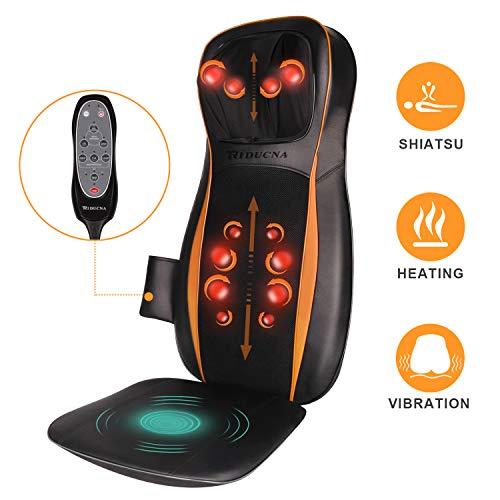 Massagesitzauflage Shiatsu Massageauflage Rückenmassagegerät mit Wärmefunktion - Massagematte Elektrisch mit Kneten Rollmassage, 3 Massagezonen, Vibrationmassage für Nacken Rücken Gesäß Entspannung