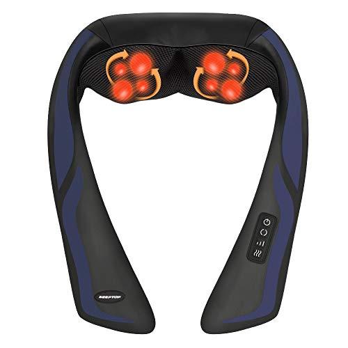 Nackenmassagegerät Shiatsu Massagegerät mit Wärmefunktion für Schulter Nacken Rücken - Elektrisch Massagekissen mit 3D-Rotation für Bein Fuß, Muskelschmerzen lindern - Zuhause Büro Auto