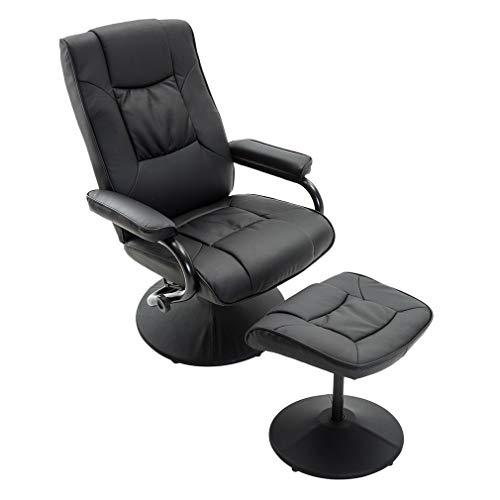 Massagesessel Fernsehsessel Wärmefunktion,Massagesessel mit Vibration, elektrische Entspannung,mit Fußhocker (schwarz)