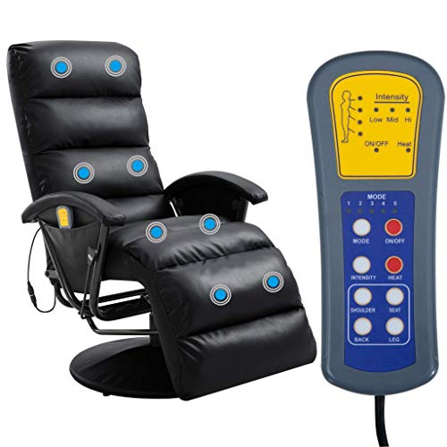 Tidyard TV Massagesessel mit Wärmefunktion Massage Elektrisch Fernsehsessel Relaxsessel Sessel Relaxliege Liegesessel Ruhesessel Schwarz Kunstleder