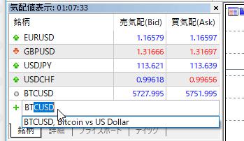 手順その4. BTC/USDを表示させる