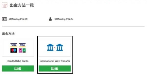 ①出金方法一覧から海外送金を選択