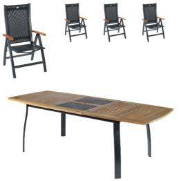 Gartenmöbel Set Kingston/Prestige (102,9×180, Ausziehbar, 4 Stühle)