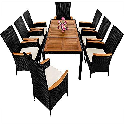 ᐅᐅ】PolyRattan Sitzgruppe 8+1 neigbaren Rückenlehnen Tisch aus ...