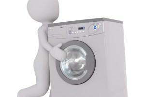 洗濯機を持つ人形