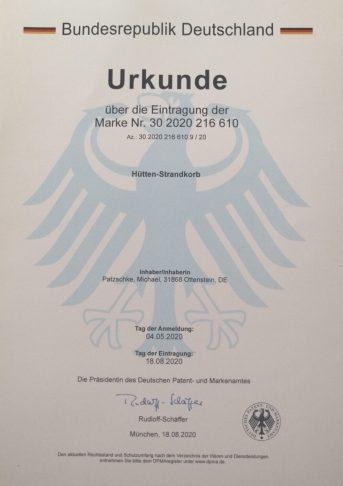 Marken-Urkunde des Deutschen Patent- und Marken-Amt