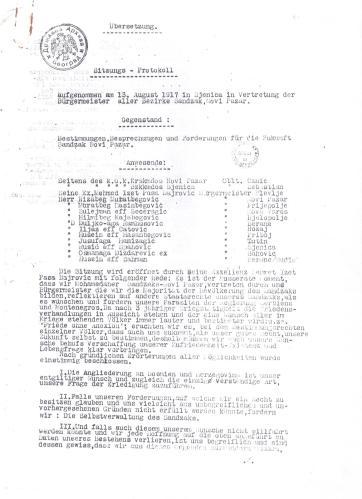 Салих СЕЛИМОВИЋ: ПОКУШАЈ ОЦЕПЉЕЊА РАШКЕ ОБЛАСТИ ОД СРБИЈЕ И ЦРНЕ ГОРЕ И ЊЕНОГ ПРИКЉУЧЕЊА БОСНИ И ХЕРЦЕГОВИНИ 1917.ГОДИНЕ(СЈЕНИЧКА РЕЗОЛУЦИЈА)