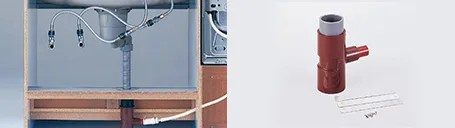 設置後に配管の位置を調節できる