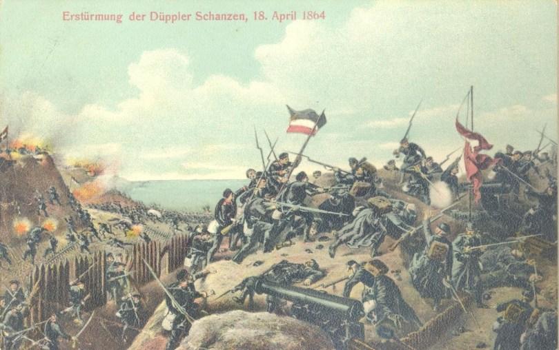 Tysk tegning af stormen på Dybbøl