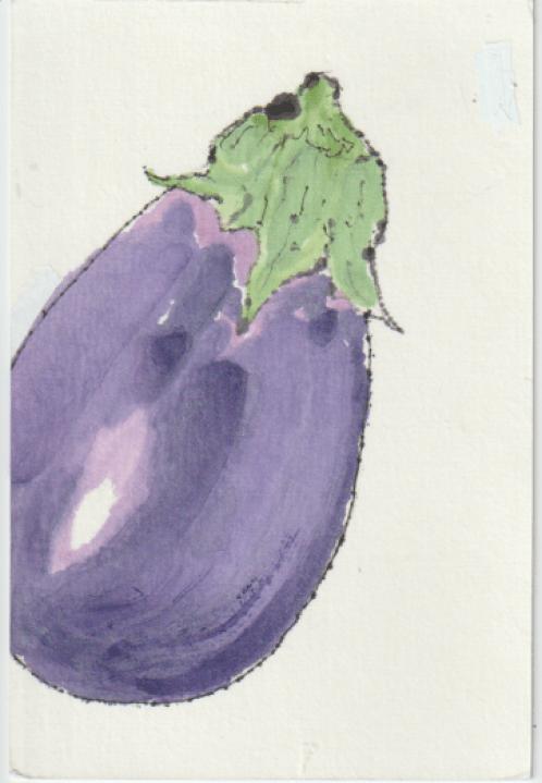 茄子の塗り絵下地ー1の見本