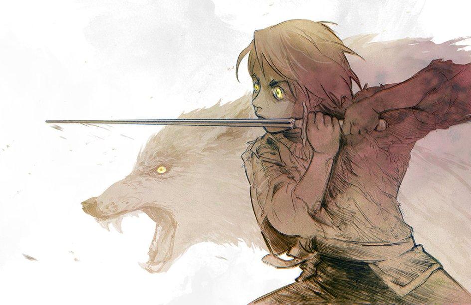 Arya Stark con Aguja y Nymeria