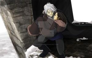 Theon o Hediondo y Jeyne Poole huyendo de Invernalia