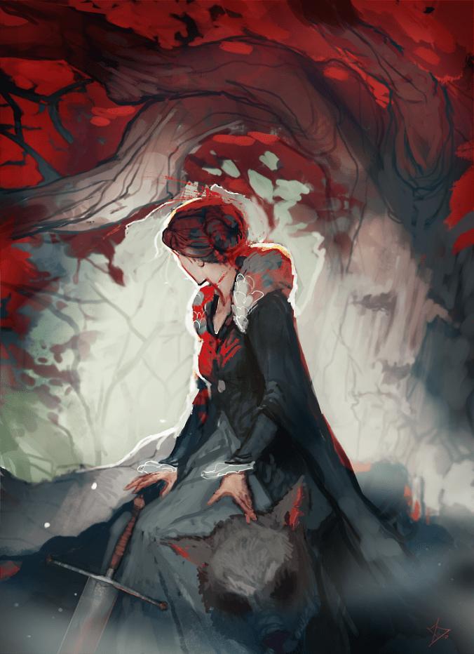 Catelyn Stark en el bosque de dioses