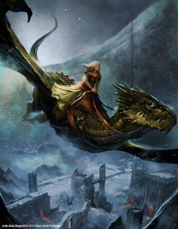 Una de las reinas de Poniente, Alyssane Targaryen, sobre el dragón Ala de Plata