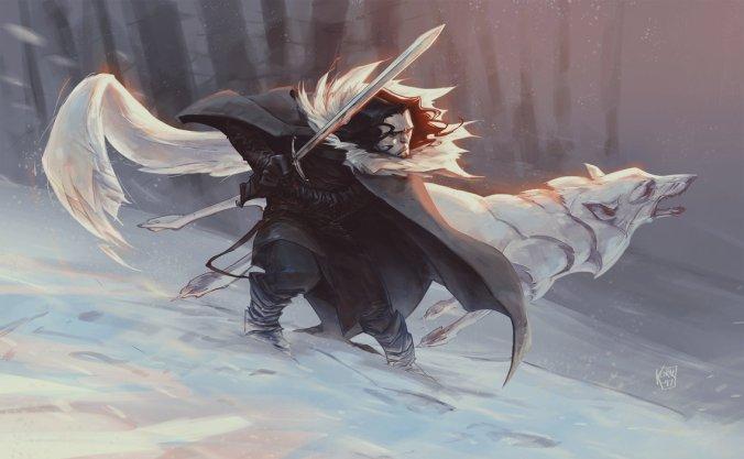 Jon Nieve y Fantasma