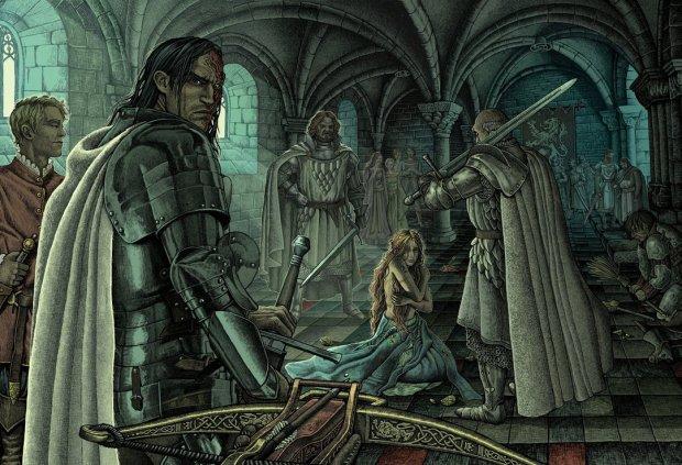 Sandor Clegane el Perro y Sansa Stark en Choque de Reyes