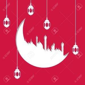 Arabic moon shape paper cutout with illustration of hanging lamps or lanterns on red background for Islamic holy month of prayer celebration for Muslim holiday. Eid al-Adha and Eid al-Fitr, Al-Hijra