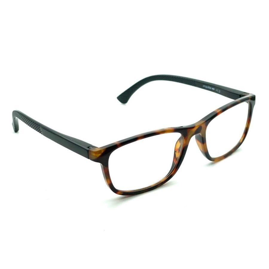 Kantede og billige læsebriller i plastik. Med sorte stænger og marmoreret brun front