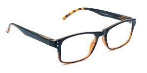 Kantet, sort og billige læsebriller. Med en brun kant under brilleglasset og yderst på brillestængerne. Er lavet i plastik.