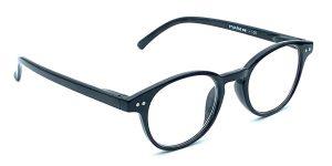 Sorte, runde og billige læsebriller i plastik, med dekorative skruer ved stangen foran på brillen