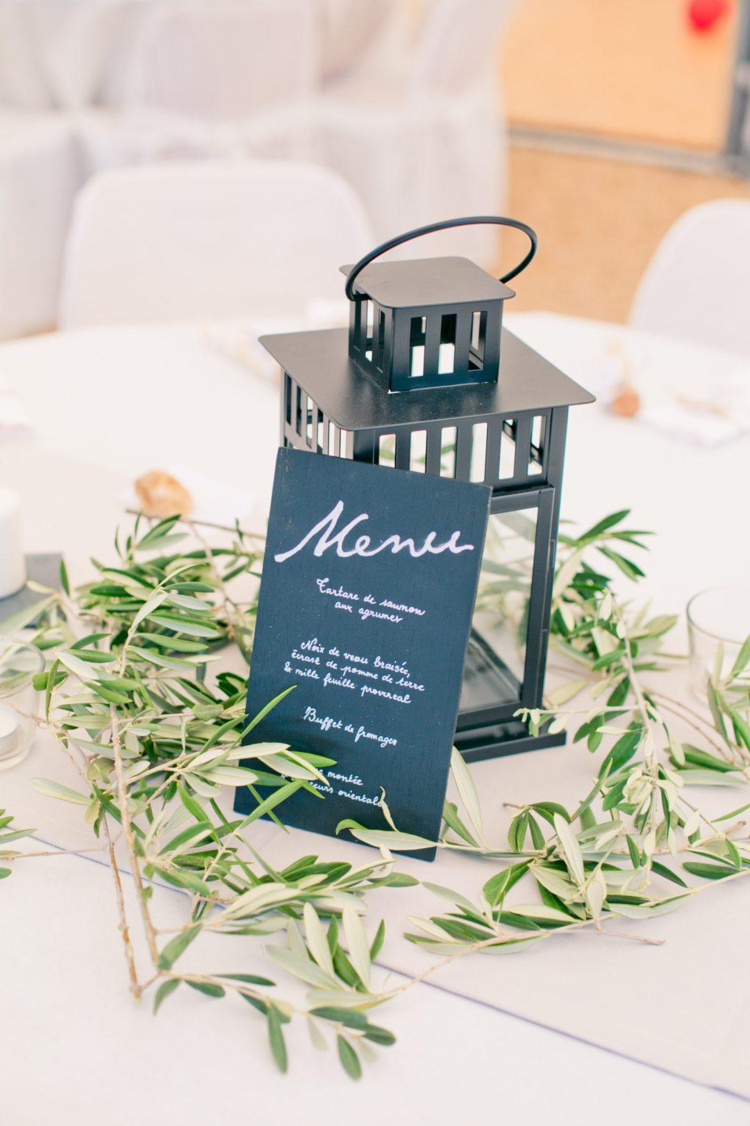 Menu, mariage, plan de table, olivier