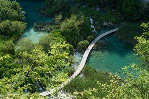 Croatie, voyages, nature, rivière, pont en bois, voyage de noces