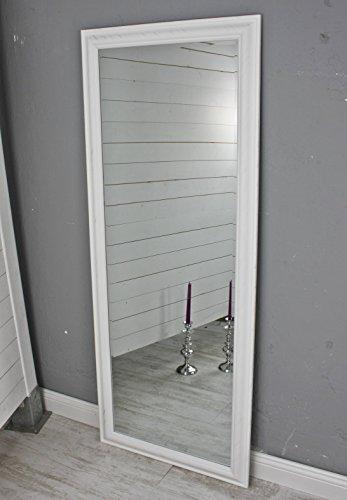 elbmöbel Wandspiegel groß in weiß mit schlichtem Holz-Rahmen 150 x 60cm