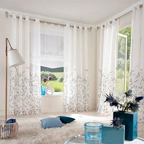 ZALAGO Schlaufenschal Fenster Stoffdruck Blumen Gardine Vorhang Wohnzimmer Deko