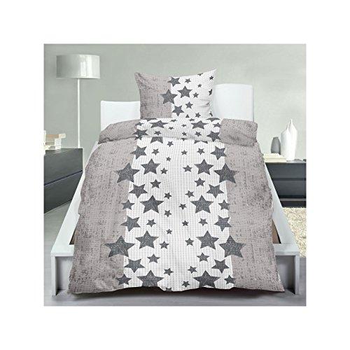 2 oder 4 tlg. Micro-Seersucker Bettwäsche mit Reißverschluss aus 100% Polyester 135x200 cm in Grau Weiß mit Sternen
