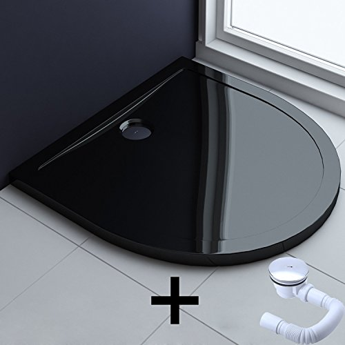 90x90x4 cm Design Duschwanne Faro4b in schwarz inkl. Ablaufgarnitur (AL01), Halbkreis Duschtasse