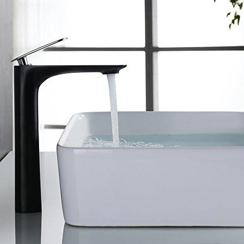 Homelody®Schwarz hoher Auslauf Armatur Waschbecken Wasserhahn, Einhebel Mischbatterie,Waschtischarmatur Waschtischbatterie Badarmatur für Badezimmer (Schlauchen nach DVGW)Badarmaturfür Badezimmer