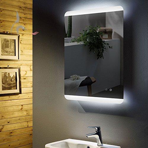 LED Bad Spiegel beleuchtet mit integrierter ANTIBESCHLG SPIEGELHEIZUNG, Füssen 60x80cm, Montage Hoch- und Querformat möglich, Badezimmerspiegel mit Licht oben und unten, Energieklasse A+