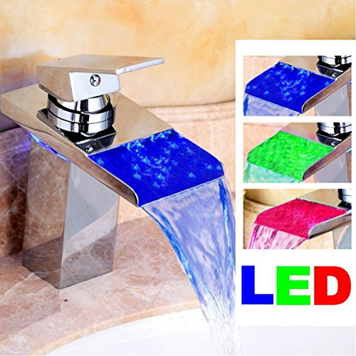 LED Waschtischarmatur von TAPCET Mischbatterie Wasserfall Bad Waschbeckenarmatur Badarmatur Waschtischmischer Wascbecken Armatur Profi Wasserhahn Mixer Tap Armatur Silber