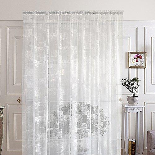 R. lang Slot Top Vorhänge für Wohnzimmer Abstraktes Muster Voile Vorhänge weiß verkauft Meterware