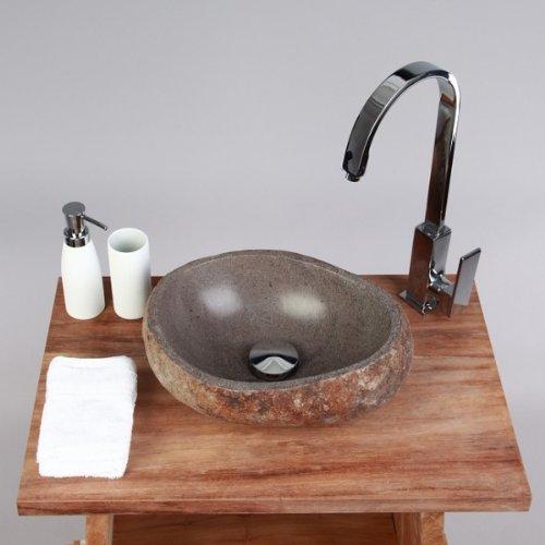 Wohnfreuden Naturstein Waschbecken 30 cm aussen natur ♥ geeignet auch für Doppel-Waschplätze ✓ einzeln geprüft und fotografiert ✓ Auswahl passender Waschbecken aus Bildergalerie ✓ Aufsatz-Waschbecken für Gäste WC