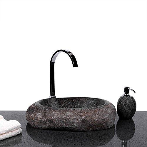 Wohnfreuden Wave Naturstein Waschbecken Waschtisch 40 cm Waschschale Findling