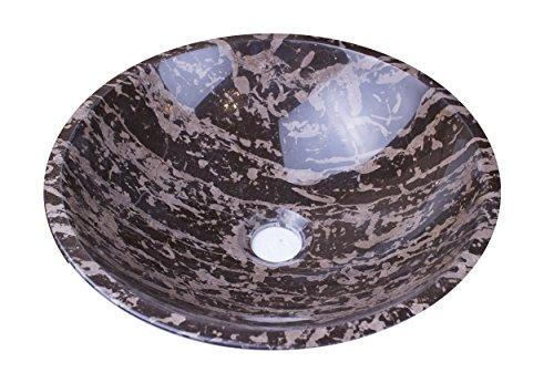 YUCHENGSTONE® Waschbecken Waschschale Steinwaschbecken 100% Naturstein, Aufsatzwaschbecken Handwaschbecken Marmor/Granit, rund, Durchmesser 33-35cm, Durchmesser Ablauf 4,5 cm