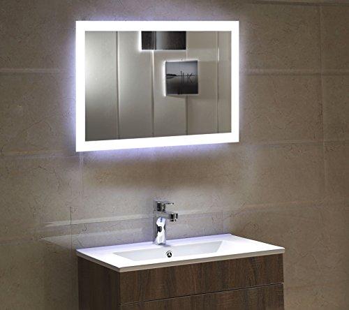 Dr. Fleischmann Badspiegel LED Spiegel GS084N mit Beleuchtung durch satinierte Lichtflächen Badezimmerspiegel (80 x 60 cm, kaltweiß)