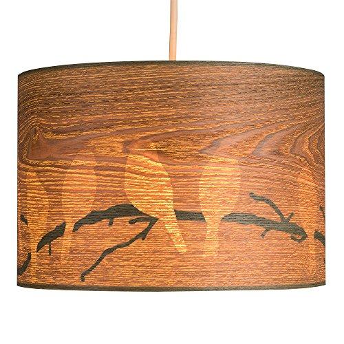 MiniSun – Moderner Lampenschirm aus Furnier mit einem versteckten Vögel- und Zweigendesign – für Hänge- und Pendelleuchte