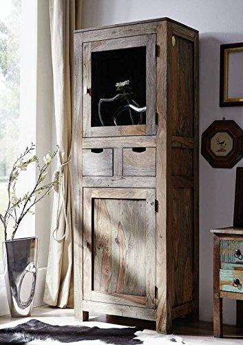 Palisander Holz massiv Vitrine Sheesham Massivmöbel Nature Grey #082
